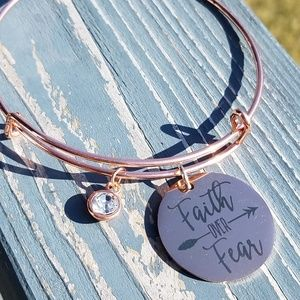 Faith over fear rose gold charm bracelet, bangle